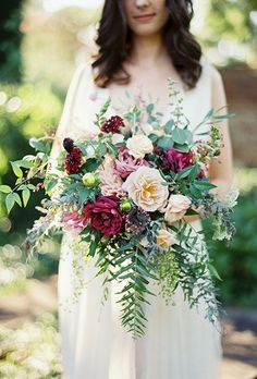 Fall Wedding Bouquet: Purple and White Roses, Ferns, and Greenery