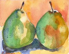 """A Warm Pear"" watercolor on paper 6 x4.5 in. by Celia Blanco"