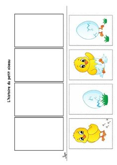 Nounou Lolo 88: L'histoire du petit oiseau Sequencing Cards, Sequencing Activities, Easter Activities, Toddler Activities, Kindergarten Portfolio, Kindergarten Activities, Classroom Activities, Preschool Activities, Picture Story Writing