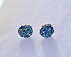 Druzy Earrrings, Faux Druzy Earrings, Druzy Stud Earrings, Blue Green Druzy Posts, Drusy Earrings, Silver Studs, Druzy Jewelry on Etsy, $8.99