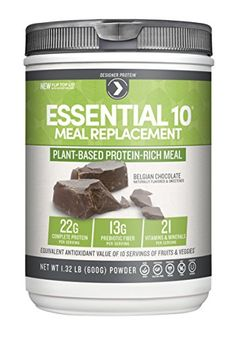 Designer Protein Essential 10 100 PlantBased Meal Replacement Belgian Chocolate 132 Pound >>> You can get more details by clicking on the image. (Note:Amazon affiliate link)
