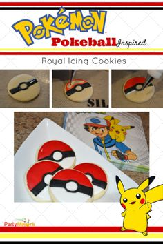 Pokemon Pokeball Royal Icing Cookes - DIY pictures