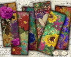 Floral Art Bookmarks  Digital Collage Sheet  by LuluDesignArt, $3.80