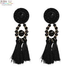 9 color fashion jewelry tassel good quality Jewelry Hot Selling Elegant long tassel crystal Earrings for Women Fringing earrings