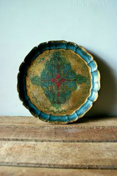 Vintage Baroque Distressed Wooden Platter by CaptainCat on Etsy, $65.00