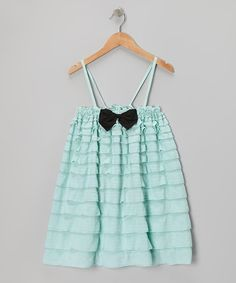Take a look at this Aqua Ruffle Bow Dress - Toddler & Girls on zulily today!