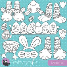80% OFF SALE Happy bunny easter stamps by Prettygrafikdesign