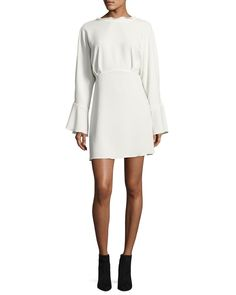 Get free shipping on Iro Ivanoe Deep-V Back Bell-Sleeve Mini Dress,