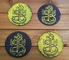 United States Navy Coaster Set USN Decorations by VioletValerian