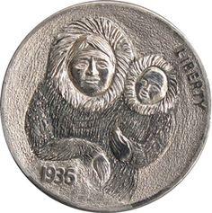 Steve Ellsworth - Eskimo Mother and Baby Hobo Nickel, Modern Love, Folk Art, Coins, Survival, Auction, Carving, History, The Originals