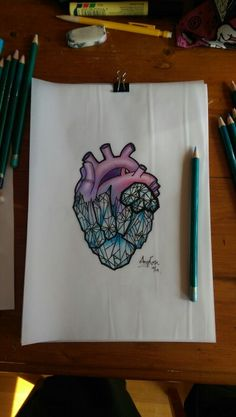Neo Traditional Crystal Heart tattoo design by Amy Rose - Australia.