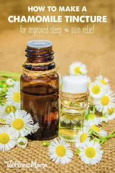 Chamomile is a wonderful herb for relaxation, sleep and pain relief. This chamomile tincture helps sore muscles, teething babies, and sleeping.