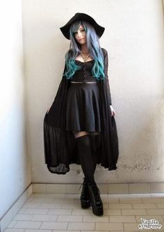 DelilaSophia: Lovely casual goth outfit. I love the long sweater and socks!