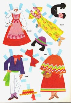 DOLLIES GO 'ROUND THE WORLD   France, Hawaii, Italy, Peru* 1500 free paper dolls for small Christmas gits and DIY for Pinterest pals The International Paper Doll Society Arielle Gabriel artist ArtrA Linked In QuanYin5 *