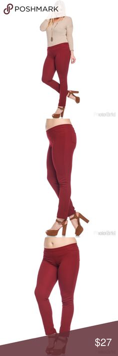 """🚨 JUST IN 🚨🎄🍁🍂 Burgundy Jeggings 🎄🍁🍂 🎁Jeggings  Inseam length 31""""  😬Stretchy Material  😬SNUG FIT  ❤️CURVALICIOUS Pockets in the back and front  ✈️FAST SHIPPING ✈️ 🇺🇸MADE IN USA🇺🇸 Yes, these are the real pictures of the clothes BUY 2+ for additional BUNDLE DISCOUNT Pants Skinny"""