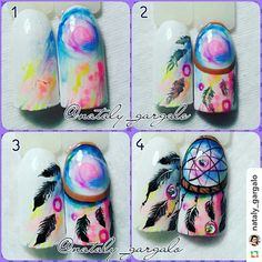 Colorful dreamcatcher nail art
