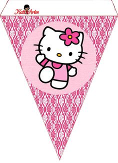 Customizable alphabet A-Z Bunting and numbers. Hello Kitty Theme Party, Hello Kitty Themes, Hello Kitty Birthday, Happy Birthday, Sanrio Hello Kitty, Decoracion Hello Kitty, Anniversaire Hello Kitty, Kitty Images, Barbie Birthday