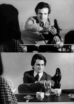 François Truffaut directing Jean-Pierre Léaud in Domicile conjugal (Bed and Board), 1970, directed by François Truffaut.