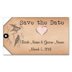 Love Birds Save the Date Vintage Tag Business Card Template