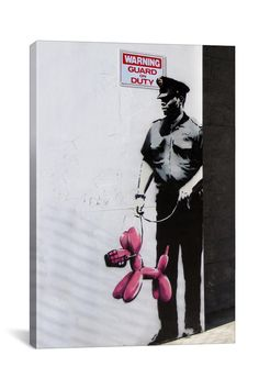 Banksy Police Guard 18in x 12in Canvas Print
