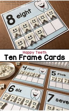 Printable Happy Teeth Ten Frame Cards for preschool, pre-k, and kindergarten. A fun addition to any Dental Health Theme. Subitizing Activities, Math Activities For Kids, Preschool Literacy, Kindergarten Math, Early Literacy, Calendar Activities, Space Activities, Creative Activities, Preschool Ideas