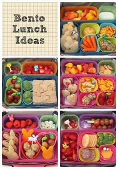 Healthy Snacks Discover Bento Lunch Ideas: Week 1 - Smashed Peas & Carrots Cute healthy lunch ideas for kids or adults.) Love the use of silicone cupcake cups for mini-containers! Office Snacks, Lunch Snacks, Healthy Snacks, Box Lunches, Office Lunch Ideas, Healthy Kids, Kids Lunch For School, Lunch To Go, Bento Box Lunch For Kids
