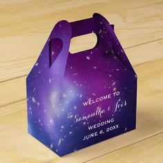Wedding Venues Purple Galaxy Cluster Wedding Welcome Favor Favor Box - Create your own personalized wedding favor box. Galaxy Cluster MACS thanks to NASA and Hubble program. Purple Wedding Cakes, Purple Wedding Invitations, Cool Wedding Cakes, Beautiful Wedding Cakes, Wedding Cake Toppers, Party Invitations, Wedding Blue, Sister Wedding, Invites