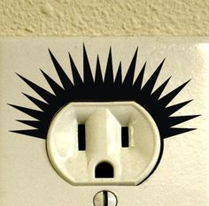 Set of 12 Electric Power Outlet Shock Decals Punk Haircut Style Vinyl Home Wall Decor Hairstyle Sticker Metal Wall Decor, Home Wall Decor, Diy Home Decor, Room Decor, Art Decor, Wall Stickers, Wall Decals, Wall Art, Vinyl Decals