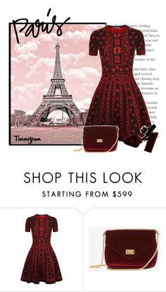 """Untitled #1819"" by timmypom ❤ liked on Polyvore featuring Alexander McQueen, Prada, paris, red, romantic, dress and evening"