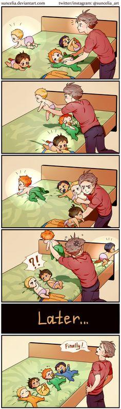 Haikyuu!! Suga mom vs little crows by Suncelia.deviantart.com on @DeviantArt