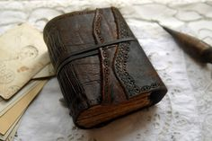 Wanderlust  Rustic Leather Journal Extra Thick by bibliographica