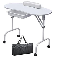 Yaheetech Portable & Foldable Manicure Table Nail Desk Workstation with Large Drawer/Client Wrist Pad/Controllable Wheels/Carrying Case for Spa Beauty Salon White
