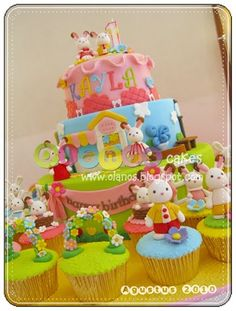 Olanos: Sylvanian Rabbits Family Themed Birthday Cake and Cupcakes