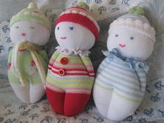 Sewing Animals Projects Sock Doll Babies Tutorial and How To -find more like this @ Plushie Patterns Sock Crafts, Fabric Crafts, Sewing Crafts, Sewing Projects, Plushie Patterns, Doll Patterns, Sock Dolls, Baby Dolls, Dolls Dolls