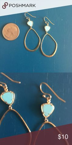 Anthropolgie earrings. Gold and teal Perfect condition. Worn 2 times! Teardrop hoops with turquoise / teel flat stone. Anthropologie Jewelry Earrings