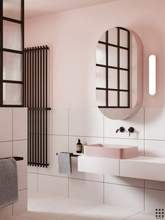 Eclectic bathroom with pink walls is part of Eclectic Bathroom With Pink Walls In Bathrooms - Contemporary bathroom with pink walls and black metal glass shower divider Eclectic Bathroom, Bathroom Interior Design, Modern Bathroom, Bathroom Black, Bathroom Taps, Minimalist Bathroom, Blush Bathroom, Bronze Bathroom, Mosaic Bathroom