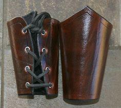 Short Dark Brown Leather Bracers Arm Armor SCA LARP Cosplay Renaissance Armour | eBay