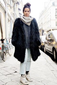 Oversized fur outerwear from the streets of Paris!