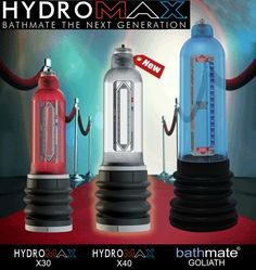 Bathmate Hydromax X40 is latest addition to the Bathmate series hydro pumps. As you can see in the visual representation, it is slightly bigger than X30, and slightly smaller than the Goliath. #Bathmate #X40 #X30 #pumps #hydro #malepumps #enlargement #device