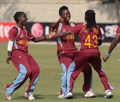 West Indies team celebrates after wining the match against Australia during the ICC Women World Cup match at the MIG ground in Mumbai, India on February 13, 2013.