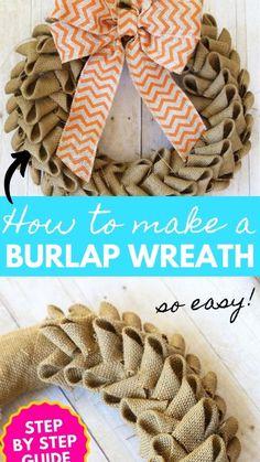 Easy Burlap Wreath, Burlap Wreath Tutorial, Diy Wreath, Wreath Ideas, Wreath Making, Burlap Wreaths For Front Door, Making Burlap Wreaths, Holiday Burlap Wreath, Rustic Wreaths