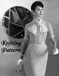 1950's PENCIL WIGGLE DRESS WITH ASCOT SCARF KNITTING PATTERN No 5025
