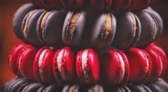 Macaron tower by Adriano Zumbo for Masterchef Australia. Macaron Tower, Red Macarons, Adriano Zumbo, Masterchef Recipes, Purple Food Coloring, Masterchef Australia, Beetroot Powder, Candied Lemons