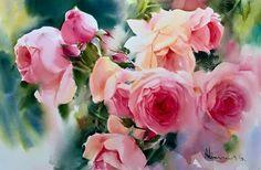 by Adisorn Pornsirikarn Watercolor on paper, 35 x 55 cm, Watercolor Rose, Watercolor Cards, Watercolor Illustration, Watercolor Paintings, Blossom Flower, Flower Art, Acrylic Flowers, Botanical Art, Illustrations
