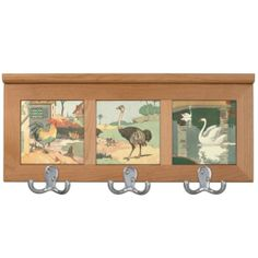 Three Birds Storybook Illustration Coat Rack #Rooster, #Ostrich and #Swan