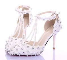 544a98032247cd Soespie Lace Rhinestone T-Wrap Low Heel Bridal Shoes