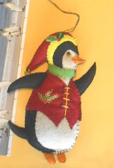Mistletoe Max Fabric Penguin Ornament