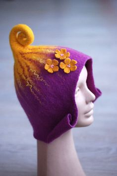 Felted gnome elf fairy hat with three flowers purple от zavesfelt