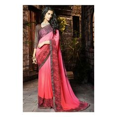 Buy online beautiful collection of party wear saree and casual wear saree. Shop this georgette pink embroidered and stone work work classic saree. Trendy Sarees, Stylish Sarees, Indian Dresses, Indian Outfits, Indian Clothes, Embroidery Saree, Hand Embroidery, Simple Embroidery, Embroidery Patterns