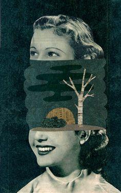 Collage illustration by Mathilde Aubier - creates amazing textured characters. Illustration Design Graphique, Collage Illustration, Illustrations, Art Du Collage, Collage Portrait, Portraits, Photomontage, Image Digital, Mix Media